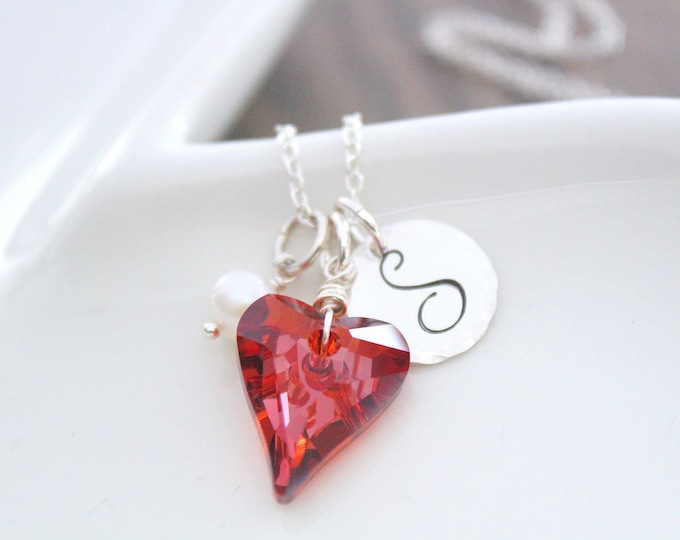 Featured listing image: Crystal Necklace Valentine heart necklace Sterling silver Necklace Personalized Heart necklace Charm Necklace Red Garnet Necklace