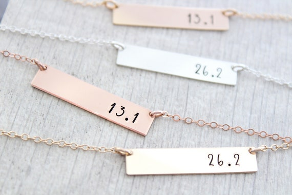 marathon jewelry, gift for runner, 13.1 , 26.2 miles, Gold bar necklace marathon, personalized jewelry, minimalist necklace, Christmas gift