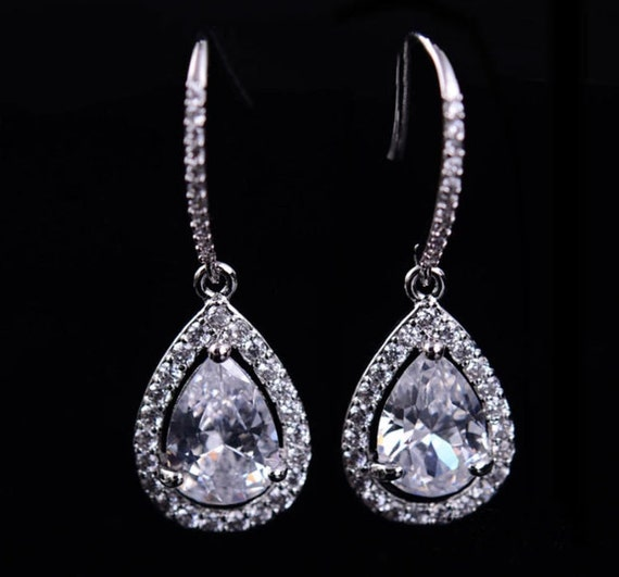 Bridal Earrings Crystal Wedding Earrings Silver Zirconia Earrings Teardrop Earrings Crystal Drop Earrings Wedding Jewelry