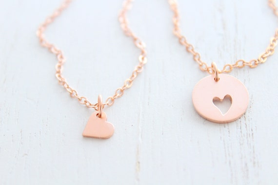 Mother Daughter Necklace rose gold set heart. Gift for mom from daughter, Mother's day gift