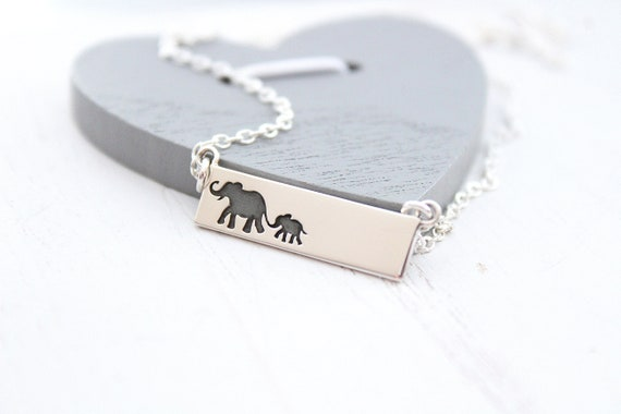 Elephant Bar Necklace. Mama elephant, elephant family. Mother Daughter necklace in silver