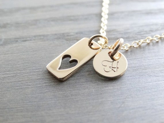 Personalized Jewelry Mother's Necklace initial Necklace Gold necklace Heart Necklace Delicate gold Necklace Gift for her