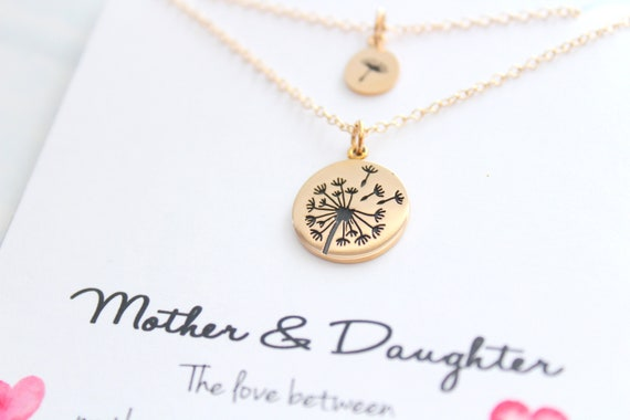 Dandelion necklace in gold, Wish necklace, Mother daughter gift, Mom necklace from daughter, Dandelion pendant