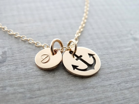 Anchor Necklace Gold Nautical Theme Gift Wedding Jewelry Nautical Necklace Bridesmaid Jewelry Anchor Jewelry gold necklace