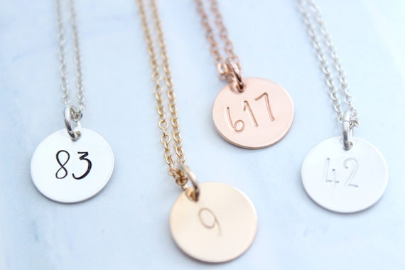 Number Necklace , Number Charm , Team Number , Jersey Number , Personalized Jewelry , Necklace with Number , Lucky Number Date Necklace