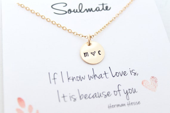 Soulmate necklace gold, soulmate gift, Couples initial necklace, soulmate jewelry, personalized jewelry, Anniversary gift