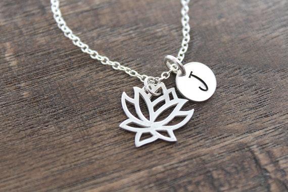 Meaningful Lotus Charm Necklace, yoga inspired jewelry, minimal, dainty layering necklace, silver, symbolic, motivational inspirational Boho