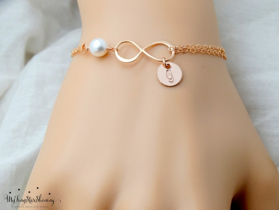 Personalized Infinity Bracelet Rose Gold Pearl bracelet Initial Bracelet Bridesmaids Bracelet Bridal Mother's day Gifts Best friend Gift