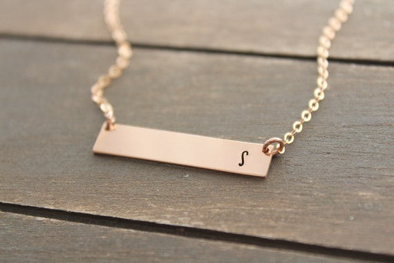 Bar Necklace Gold with Initial Necklace • Personalized Necklace • Girlfriend Necklace • Name necklace • couple initial necklace