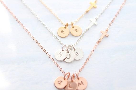 Sterling silver Sideways Cross Necklace Gold side ways cross sideway cross small sideway cross necklace cross necklace Initial charm Jewelry