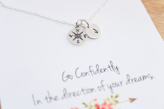 Silver Compass Necklace, Travel necklace Compass, compass pendant, Best friend necklace, Friendship Gift, Graduation Gift