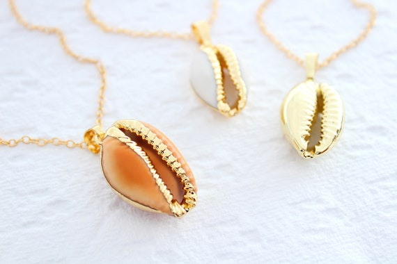 Cowrie Necklace, Gold Shell Necklace, Gold Cowrie Shell, Layering Necklace, Rose Gold Shell Jewelry, Gold Cowry Shell, Boho Necklace