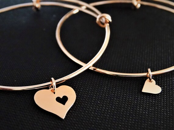 Mother daughter bracelets, gift for her, Heart Bracelet Set, Mother and Daughter, Set of 2 bangles, Rose gold, Mother of the Bride Gift
