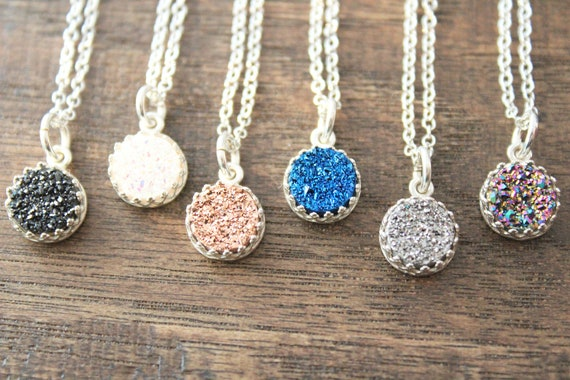 Rose gold Druzy Necklace Silver Necklace Dainty Necklace Delicate necklace for women gift idea for her White druzy Necklace Druzy pendant
