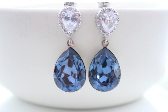 Dark Blue Earrings Dangle Bride Earrings Denim Blue Swarovski Crystal Navy blue Earrings Bridesmaid Gift Royal Blue Earrings