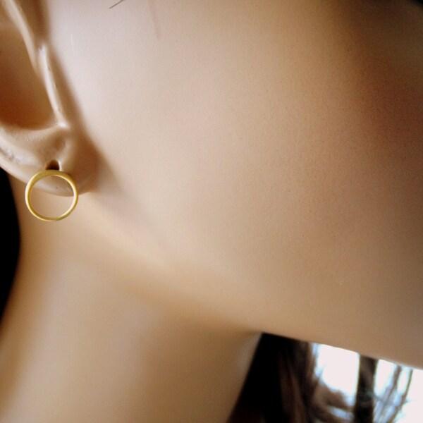 Round earrings Circle stud earrings Hoop earrings open image 3