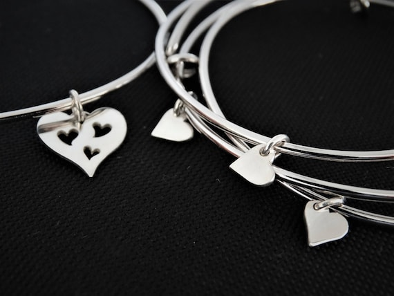 Mother daughter bracelets heart charm bracelet for mother and daughter jewelry Set of 4 Bangles for Mom and Daughter Birthday Gift