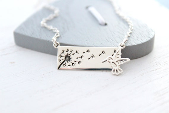 Dandelion necklace silver with hummingbird necklace, wish necklace,  dandelion necklace Mother daughter, Christmas gift