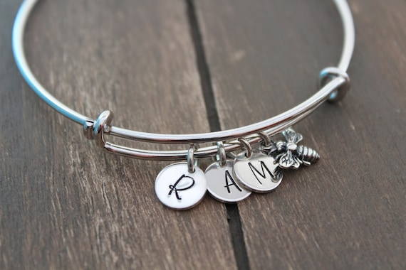 Bangle Bracelet Bumble bee bracelet silver Honey bee bracelet Personalized Jewelry Initial bracelet Personalized Jewelry Silver bracelet