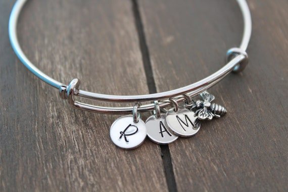 Bumble bee bracelet silver, Honey bee bracelet, Personalized Jewelry, Initial bracelet, Personalized Jewelry, Bangle Bracelet
