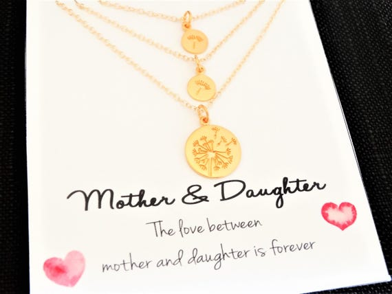 Dandelion Necklace Mother Daughter Jewelry Set Gifts for Mom Mother Daughter Gift Set Mom Gift for Mothers Day Gift for Mom