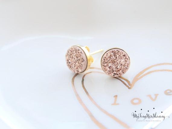Druzy Stud Earrings GOLD Stud Earrings Drusy Studs Rose gold Druzy earrings Studs Pink Druzy Earrings Tiny Druzy Earrings Druzy jewelry