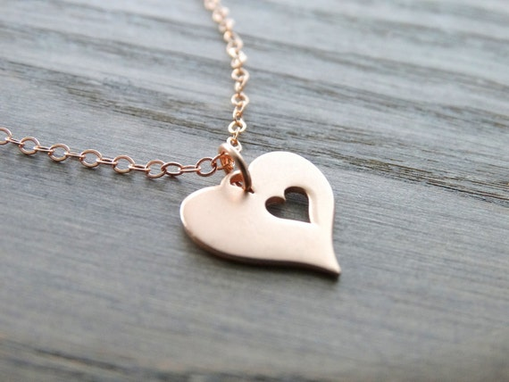 Rose gold Heart necklace Mother day Necklace  Love Necklace Heart Pendant Mother Daughter Jewelry Heart pendant