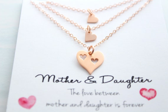 Mother Daughter Necklace Set of 3 Rose gold Heart Necklaces Mom and Daughter Jewelry Piece Of My Heart Gift for Mom from Daughter
