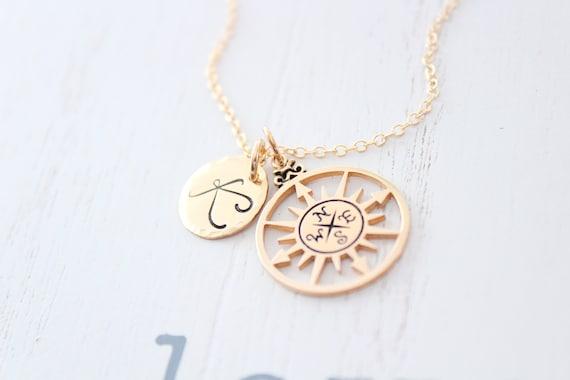Friendship jewelry • compass necklace gold • Best Friend gifts • graduation gift ideas • college graduate • friendship necklace • retirement