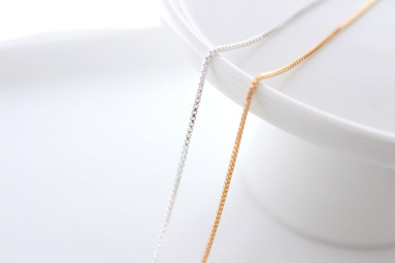 Sterling Silver Necklace Chain Finished Gold filled chain necklace Gold necklace Box chain Necklace silver 16'' 18'' 20''