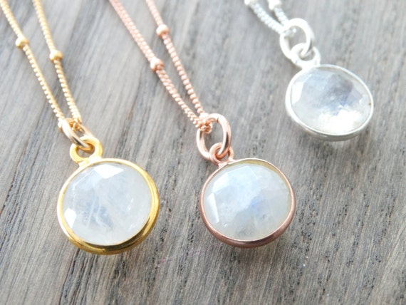 Rainbow Moonstone Necklace Rose Gold, Moonstone Necklace Silver, Moonstone Rose Gold, Satellite Chain Necklace