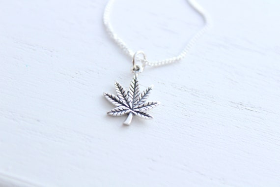Weed necklace, pot leaf necklace, marijuana necklace in silver, weed jewelry marijuana jewelry