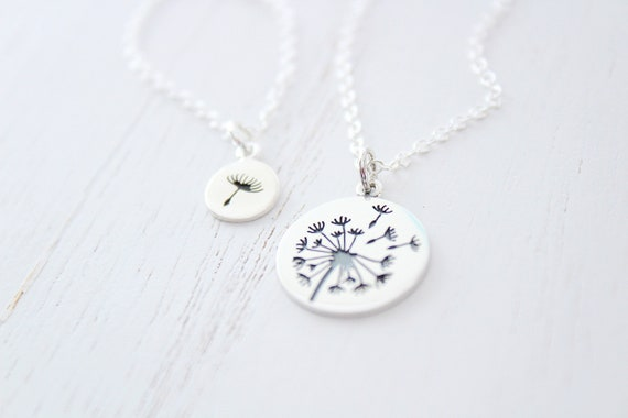 Dandelion necklace in silver for mother and daughter, set of 2 mother's day gift from daughter, gift for mom necklace • mother gift