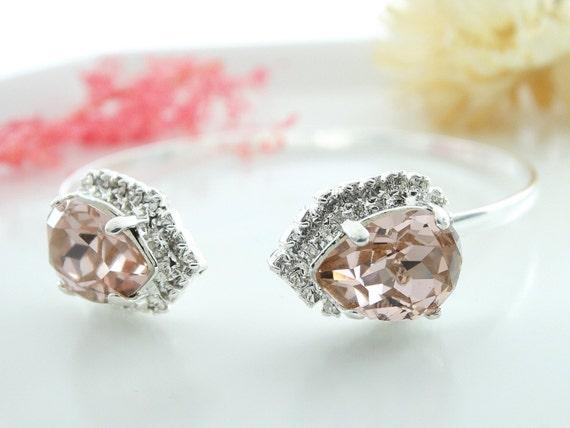 Pale Pink Bangle Bracelet Vintage Pink Swarovski bracelet Swarovski Bangle Bracelet Bridal Clear Bracelet Bridesmaids Bracelets rhinestone