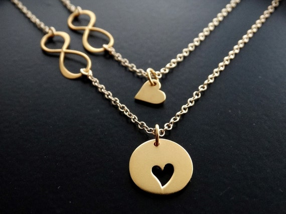 Mother daughter Necklace, Set of 2, Mother daughter jewelry, Infinity heart necklace, Infinity Necklace, Mother Gift for Mom, Gold Necklace