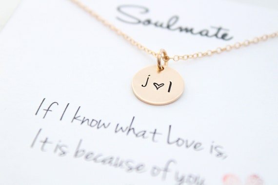 Couples Necklace with initials necklace • Heart necklace • Engraved necklace • Personalized necklace • Gift for her