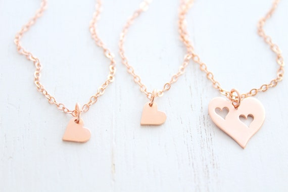 Mother Daughter Necklace, Jewelry Set of 3, Daughter gift, Mommy and me, Heart Necklace Rose Gold
