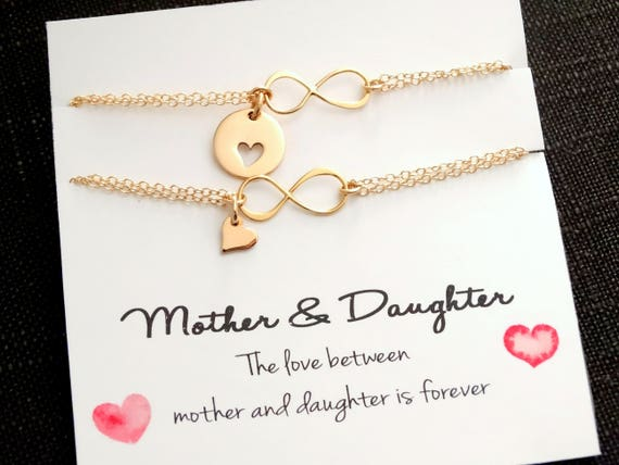Mother Daughter Bracelet Gift Mom bracelet Infinity Jewelry gift Mother of the Bride Christmas Jewelry Gift GOLD Bracelet Heart Bracelets