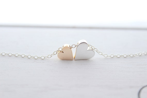Heart necklace silver, Heart jewelry, Heart beaded necklace, dangle Heart pendant, Valentine necklace