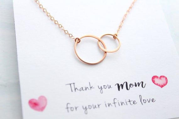 Infinity Necklace Rose Gold Interlocking Circle Necklace For Women Simple Mother Daughter Double Circle Pendant Bridesmaid Jewelry Gifts