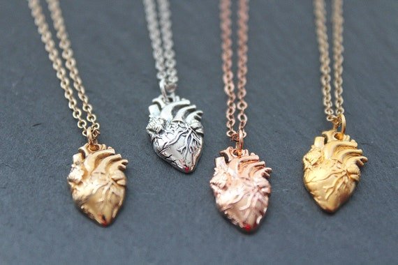 Anatomical Heart sterling silver Necklace, Realistic Heart Necklace, Real Heart Necklace, Heart Jewelry, Zombie Heart Necklace