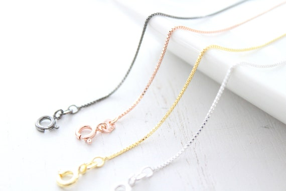 Sterling silver or rose gold Chain Necklace - Sterling silver Box Chain Necklace - Black Rhodium Plated box Silver Chains