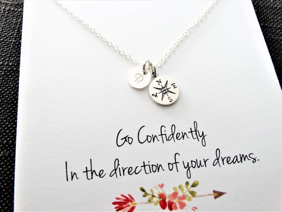 Personalized Jewelry Compass Necklace Sterling Silver Initial charm Silver Compass Necklace Graduation gift Best friends Gift