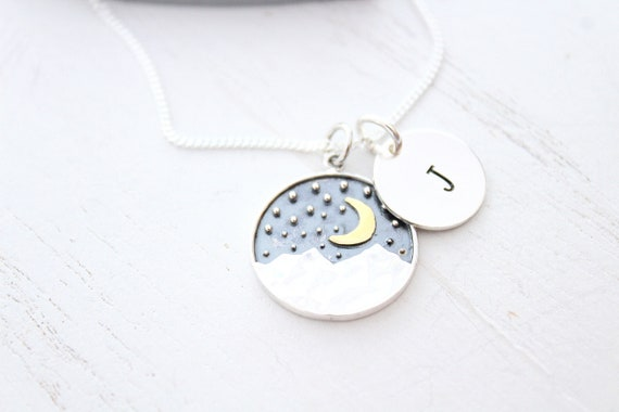 Mountain Necklace Moon Necklace Star Pendants Necklace, Sterling Silver Celestial Pendants Necklace with Initial charm
