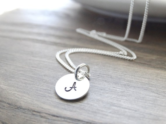 Initial Necklace Sterling Silver monogram necklace silver initial necklace Silver - Letter Necklace - Alphabet Charm Necklace