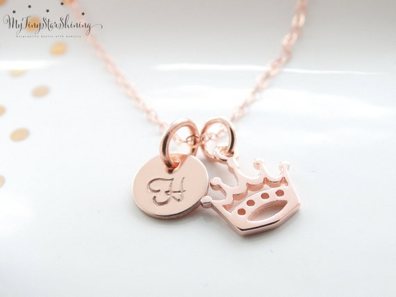 Crown Necklace Rose Gold necklace Rose Gold Initial Necklace Rose Gold Crown Necklace Gold Initial Necklace Charm Crown Charm Necklace