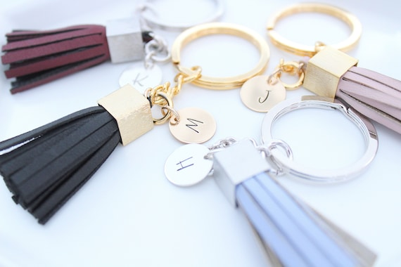 Gift Women Personalized Gift  Leather Bag charm Tassel Keychain Name keychain For Her Personalized Keychain for women Gift Silver or gold