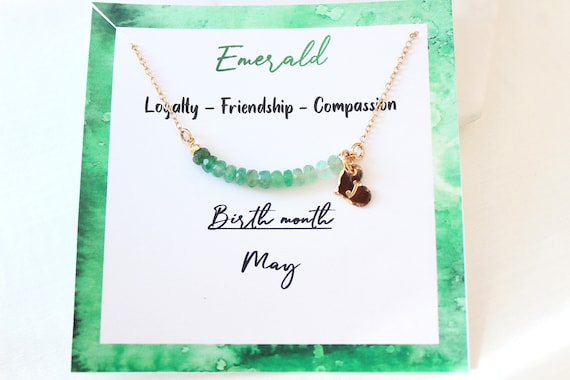 Personalized Emerald necklace, Custom initial necklace gold, May birthstone necklace for women, Emerald Jewelry