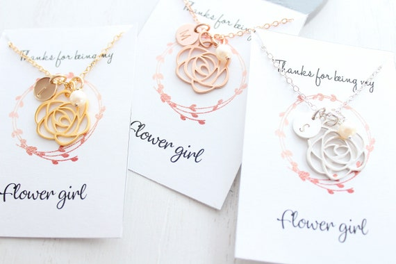 Flower Girl rose necklace in gold with personalized initial necklace. Flower girl gift, Flower girl proposal necklace