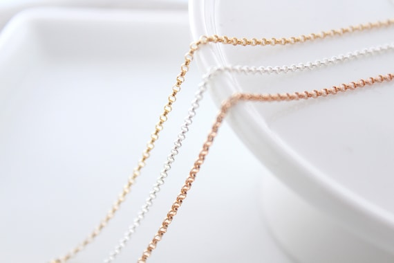 Sterling Silver Necklace Chain, Necklace chain, Rose Gold Filled Necklace, Chain Finished - Create your own Necklace, Rollo Chain ROLO Chain